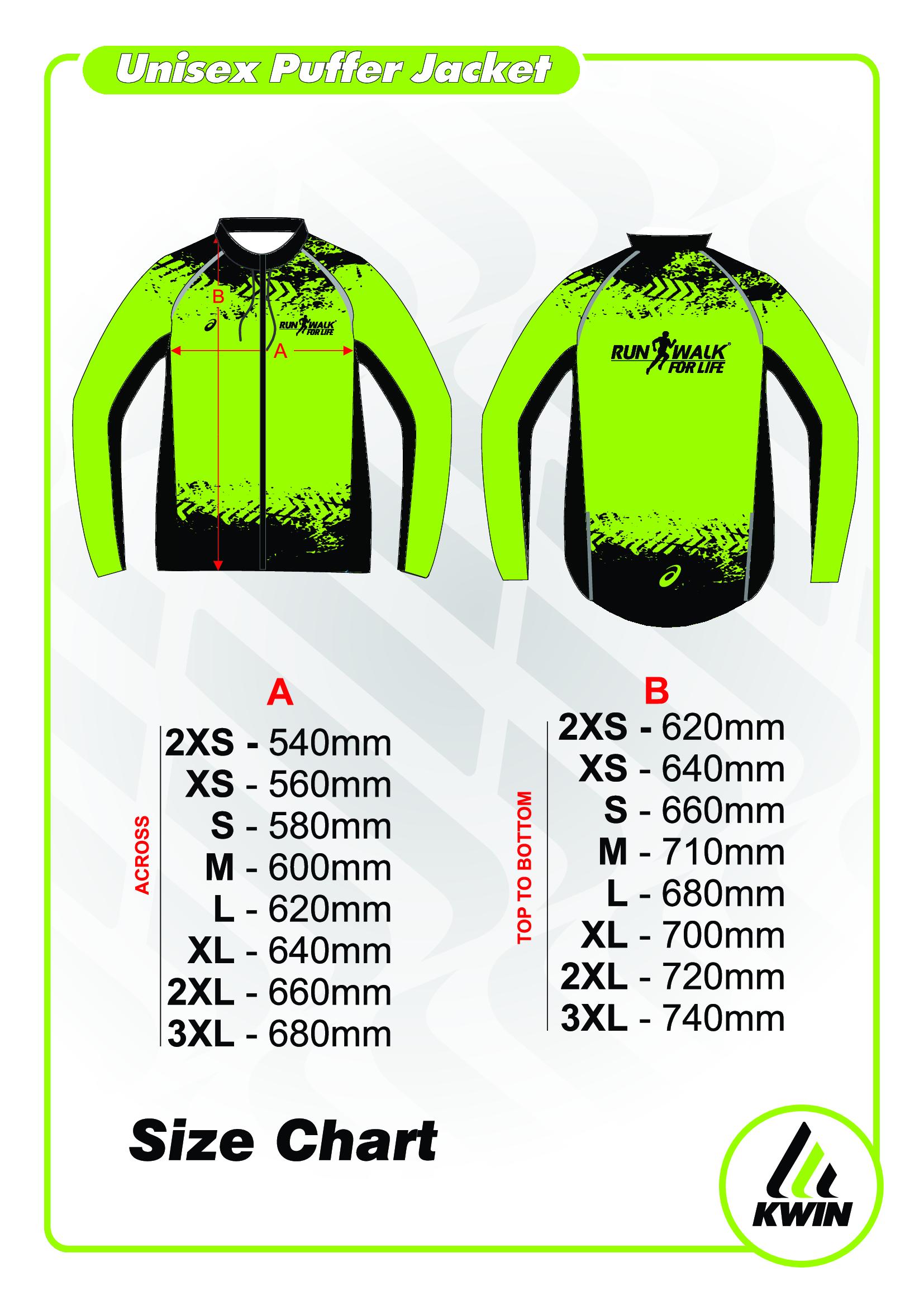 Puffer Jacket Size Chart