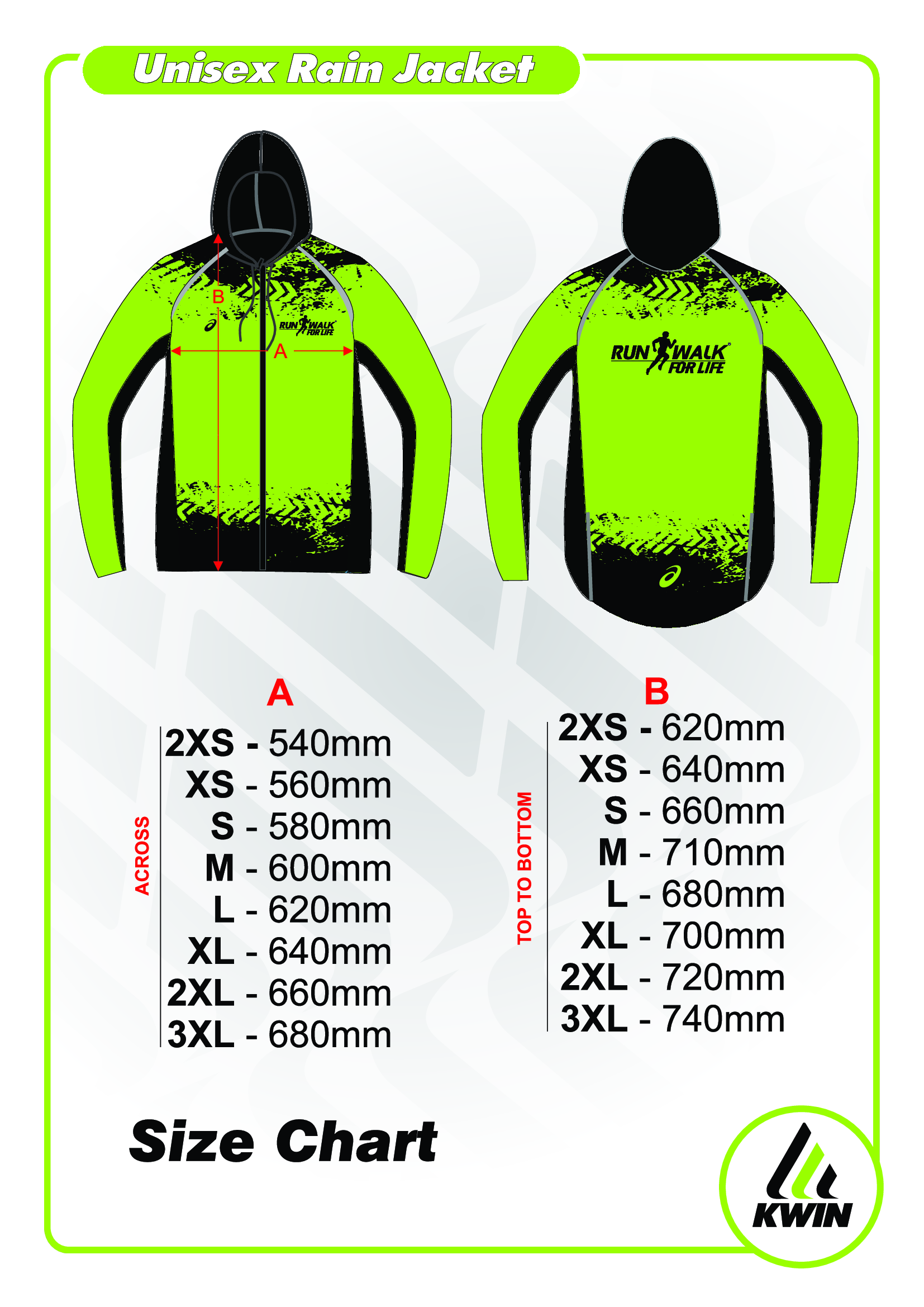 Run Walk For Life Jacket Size Chart